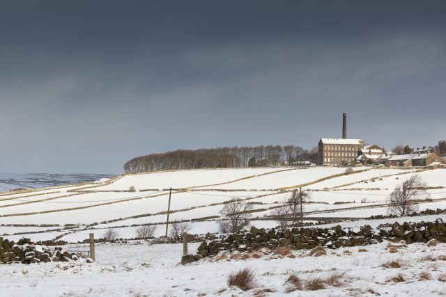 Mill in snow